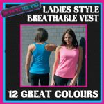 LADIES WOMENS BREATHABLE SPORTS GYM RUNNING VEST 12 COLOURS AVAILABLE